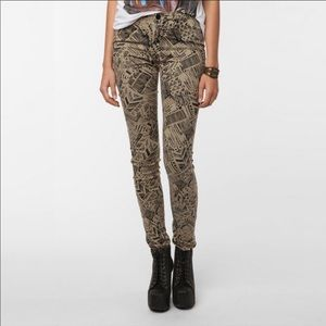 BDG Cigarette High Rise Patterned Pants